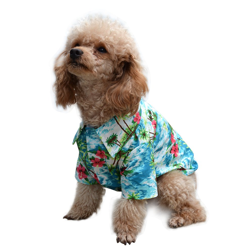 434f1072 Get Quotations · EXPAWLORER Hawaiian Pet Dog Polo T Shirts Cute for Small to  Medium Puppy Cats Cool Summer