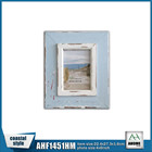 "Antique Beach Wooden Photo Frame 4x6"" With White Frame At Face"