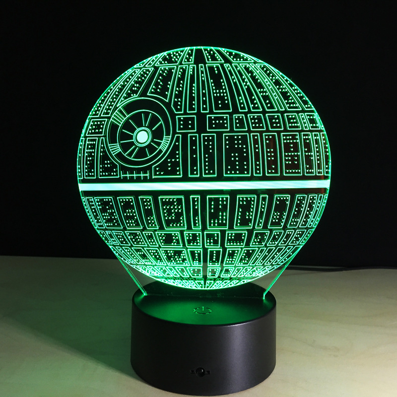 Death Star Shape Led Table Night Light Multi Colored 3d Optical