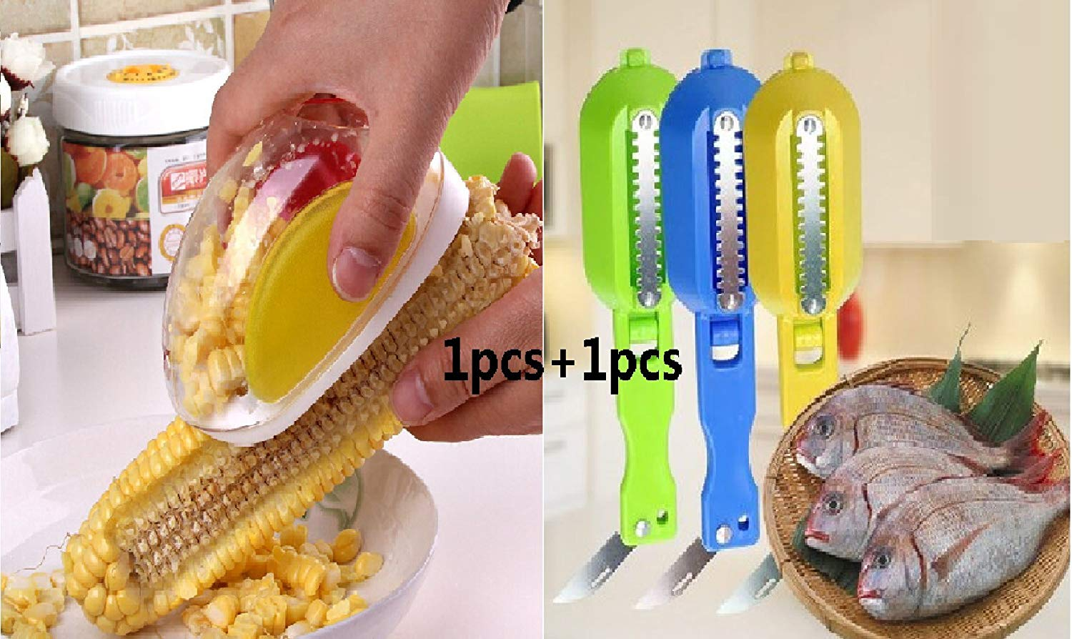 Rainbow - Ye Creative corn planter, corn thresher, corn husk, with Stainless Steel Blades and Hand Protector Cooking Tools (1pcs) + fish scraper, scale remover (1pcs).
