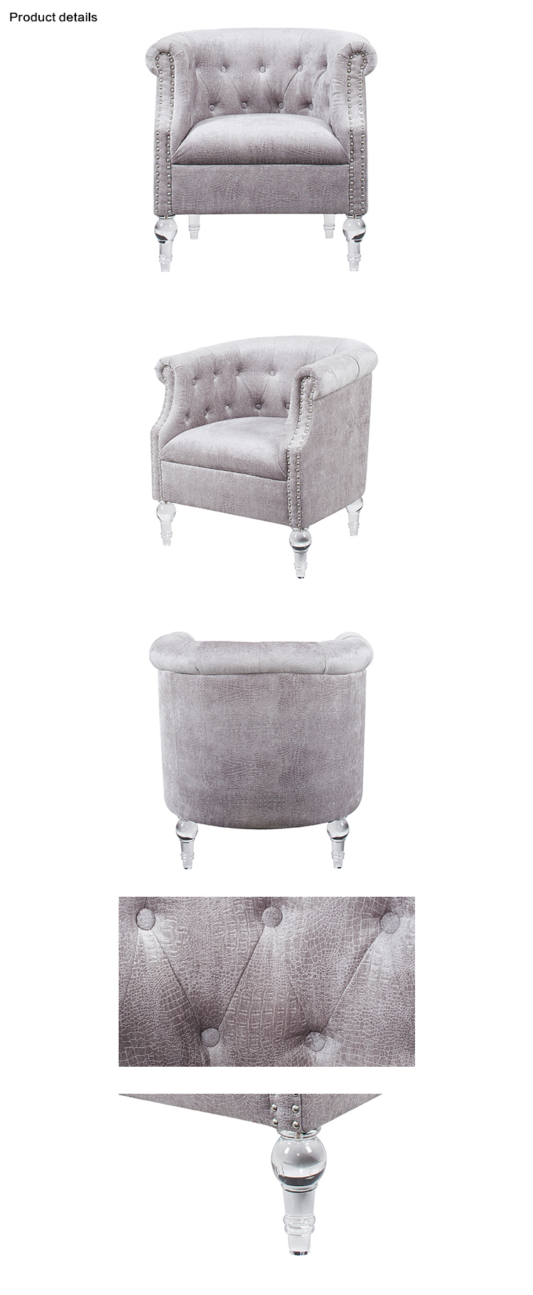 French Living Room Accent Tufted Arm Chairs With Acrylic Legs Rivet ...