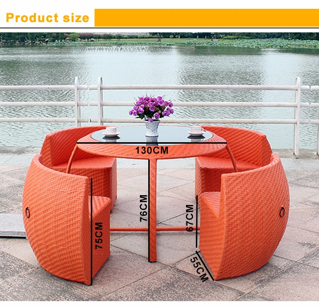 Space save outdoor garden orange wicker synthetic rattan furniture for 4 person restaurant dining tables and chairs