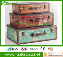 Newly Leather PU Vintage Wooden Storage Trunk For Sale
