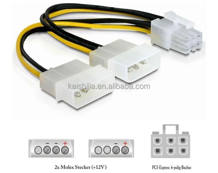 6 Pin Pci E To Molex 6 Pin Pci Express Power Adapter Cable