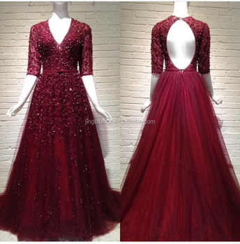 Unit Design Luxury Dark Red Long Sleeve V-neck Lace Evening Gown ...