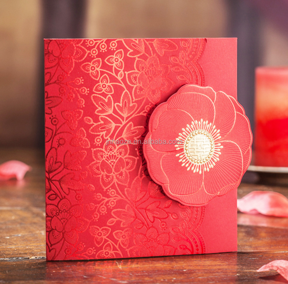 2017 Original Design Indian Chinese Red Laser Cut Wedding Invitation Cards with white envelope for Party, Wedding, Birthday
