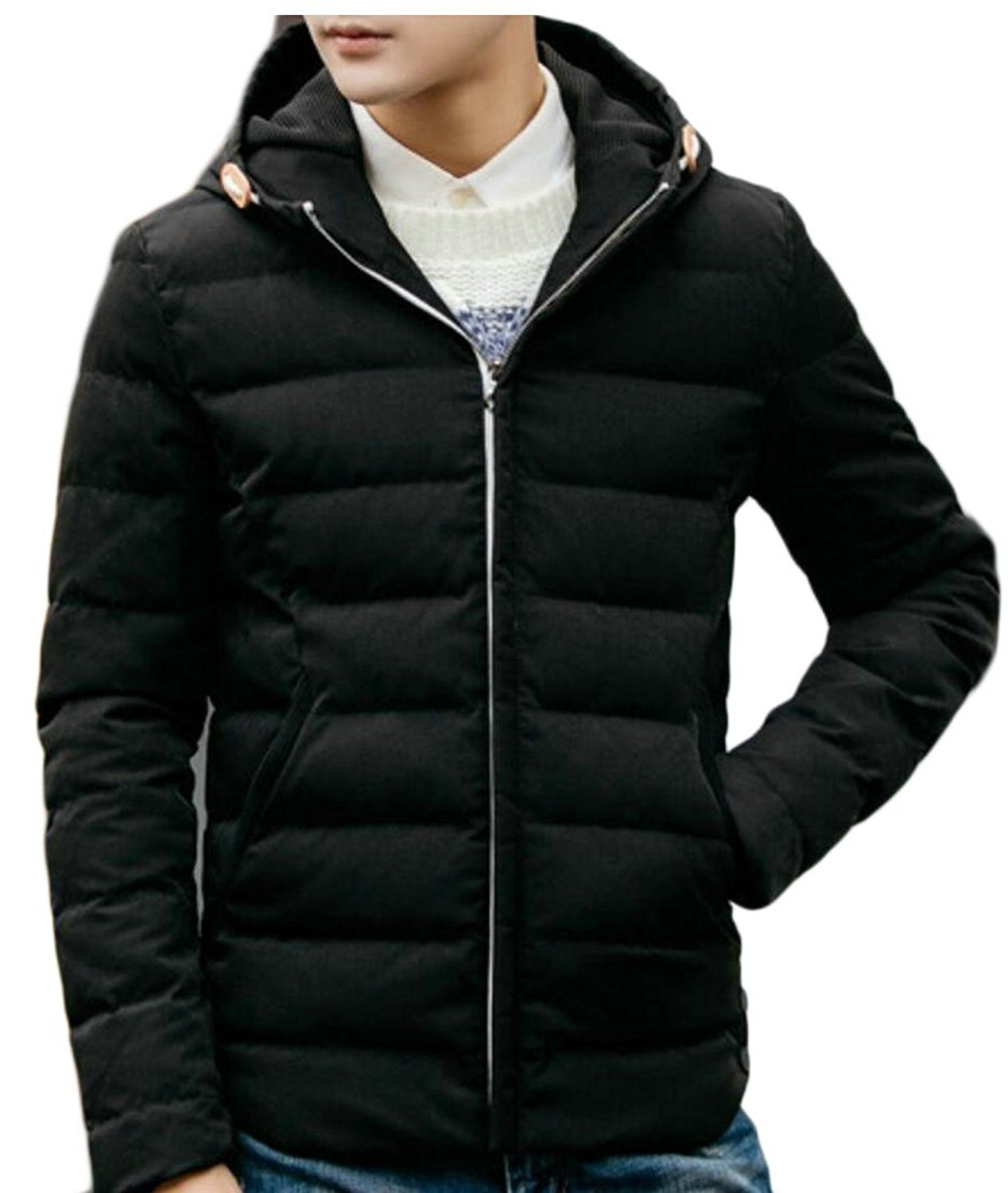 WSPLYSPJY Mens Winter Lightweight Packable Outwear Hooded Down Jacket Puffer Coat