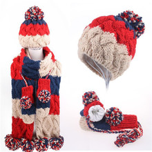Winter Warm Cute Colorful 100% Acrylic Knit Hat Scarf Gloves Set for kids