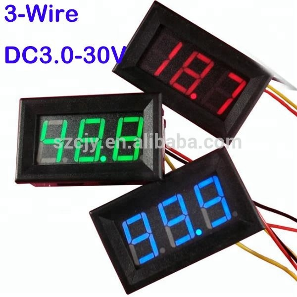 "3 Wires Dc 0-30v LED Panel Digital Display Voltage Meter Tester Voltmeter 0.56"" green/blue/red reverse protection 3-wires"