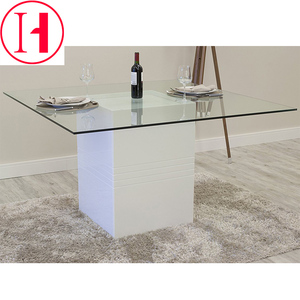 Cheap dining room furniture glass top wood base dining tables for sale