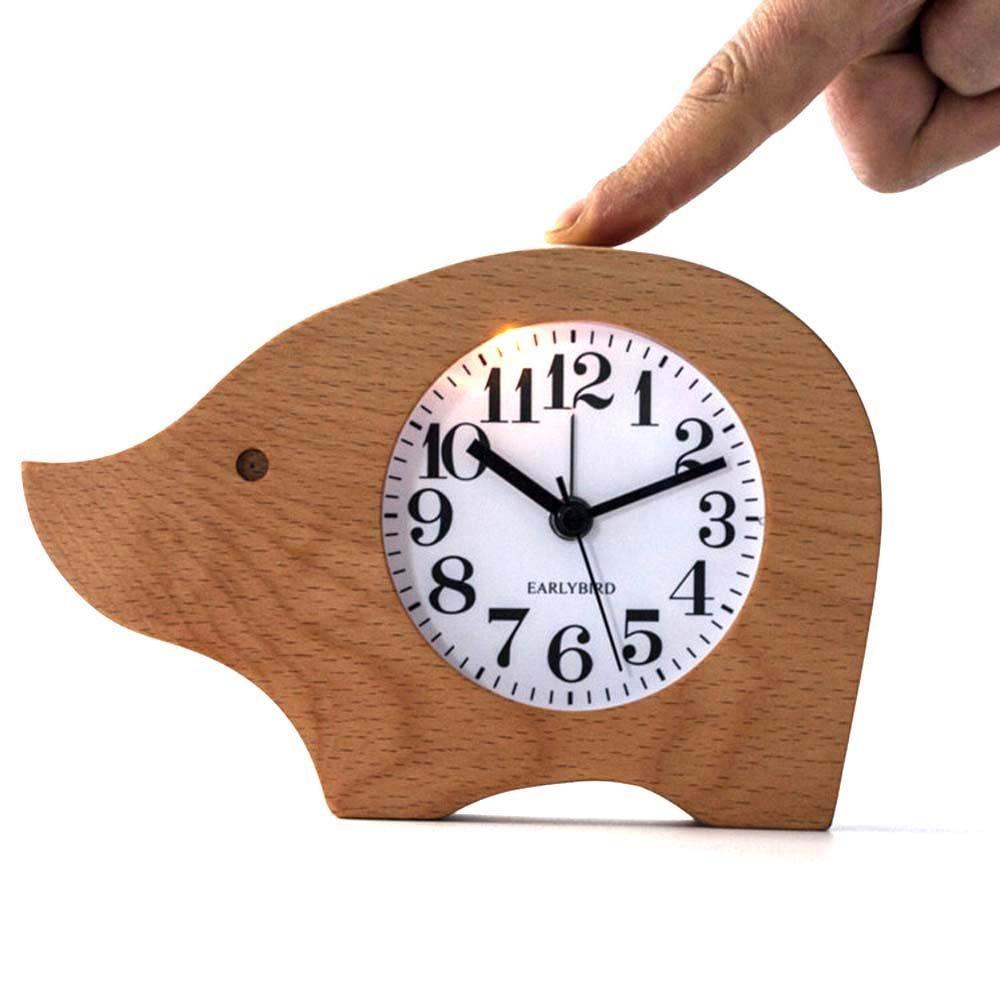 VIVISKY Alarm Clock,Cute Elephant Style wood clock Light Alarm Clock Small Round Classic Wood Silent Desk Travel Alarm Clock With Nightlight