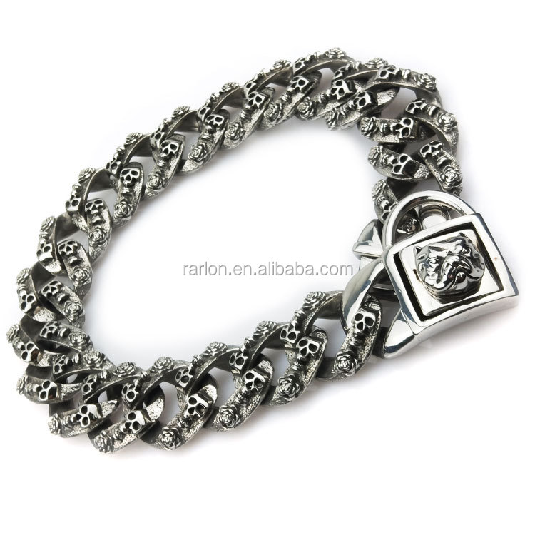 Pet Supplies Skull Links Bulldog Clasp Dog Chains Stainless Steel