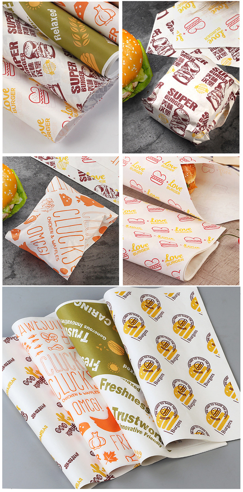 Custom printed logo reusable food sandwich wrapper  burger packaging wax paper custom shawarma wrapping paper