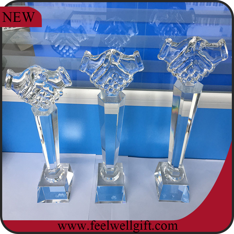 wholesale white blank crystal glass hand shape shaking trophy