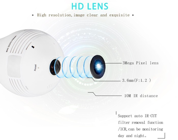 360 degree Camera Hidden Camera Security Bulb Light IP Wireless Webcam Wifi HD Camera