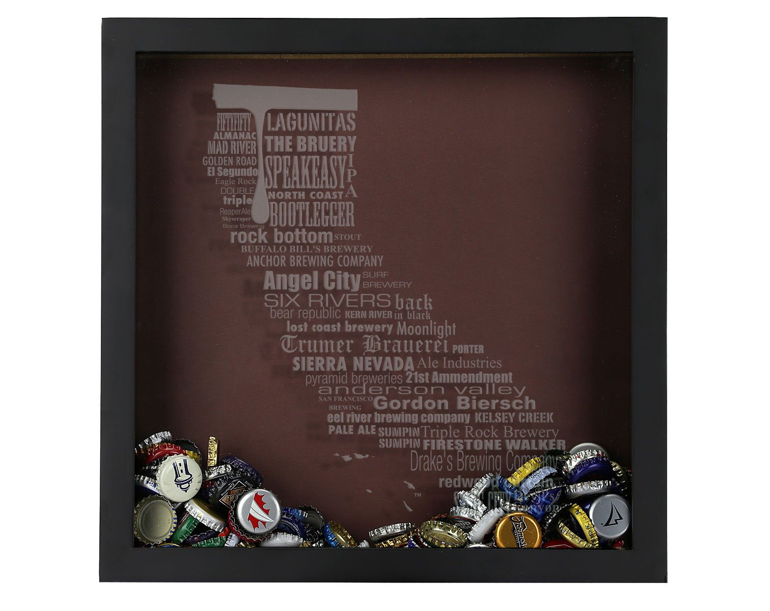 Beer Cap Shadow Box, California Typography, California Craft Beers