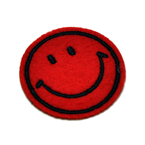 Felt smile badge embroidery patch label embroidered cap badge