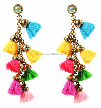 Fashionable Peach Blossom Earrings Hot New Tel Fringe Women Pom