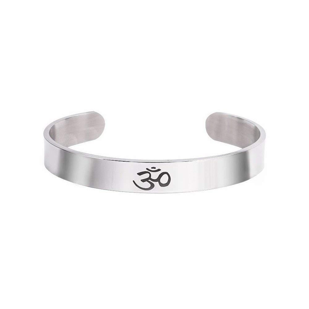 9cd7472e12eb31 Get Quotations · WLLAY Yoga Cuff Bracelet OM Jewelry Yoga Meditation Hindu  Buddhist Bracelet Spiritual Jewelry Gift