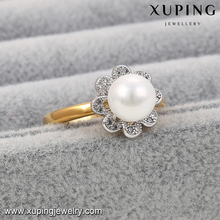13889-dubai fashion jewelry flower pearl 4 gram gold ring