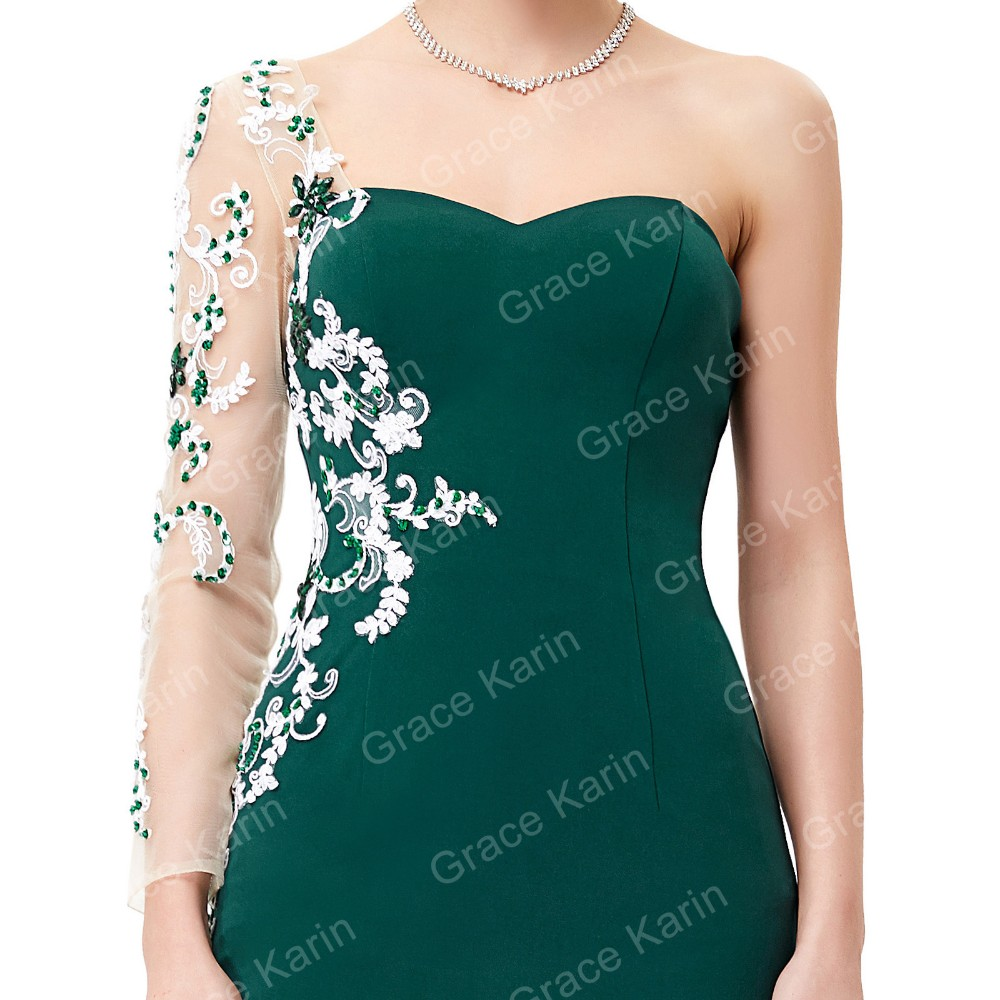Grace Karin 2016 Floor-Length Asymmetrical Sleeve Embroidered Dark Green Elegant Evening Dress GK001013-1