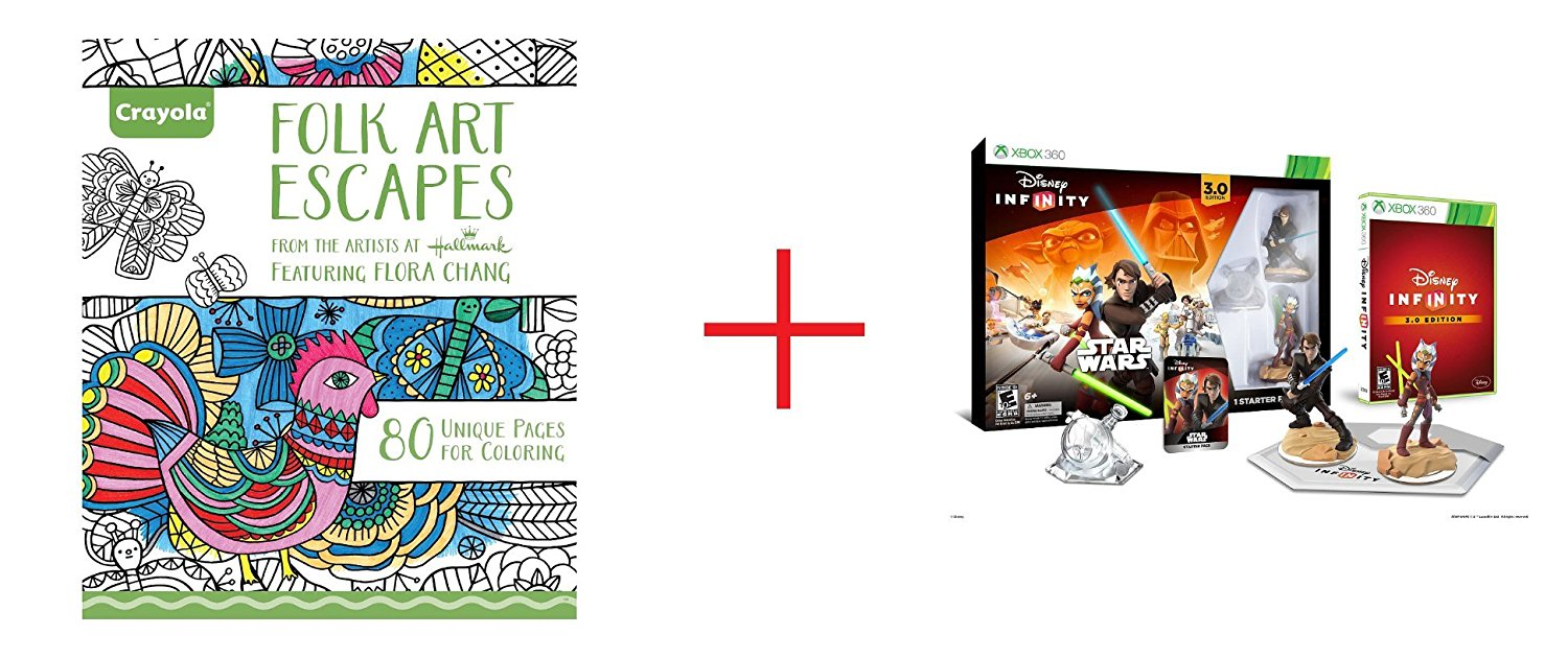 Crayola Adult Coloring Book - Folk Art Escapes and Disney Infinity 3.0 Edition Starter Pack for Xbox 360 - Bundle