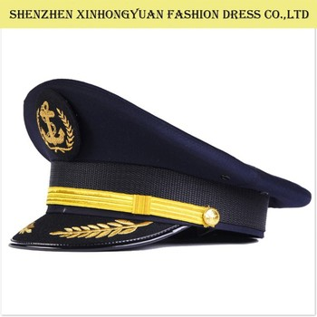 Metal LOGO navy blue pilot caps security guard hats military caps wholesale 4d17aa061ee