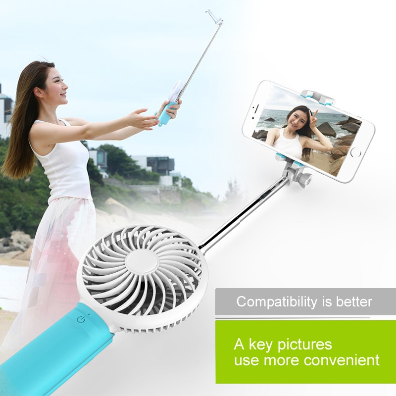 2016 new design Power bank mini monopod selfie stick with mini fan