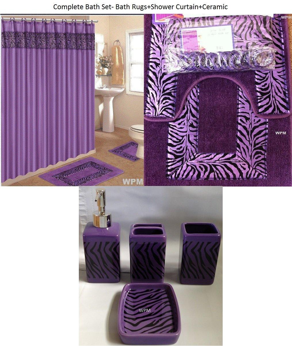 Get Quotations · 19 Piece Bath Accessory Set Purple Zebra Bathroom Rugs U0026  Shower Curtain U0026 Accessories