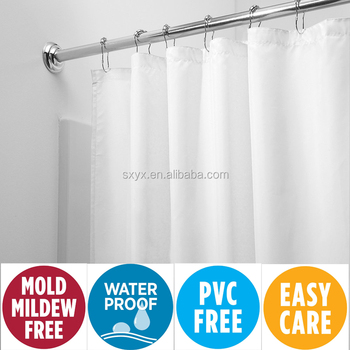 Mildew Resistant Fabric Shower Curtain Liner Waterproof Water RepellentAntibacterial 72x72 White
