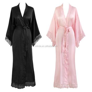 9204665018 OEM Wholesale Custom Fashion Women s Kimono Skyle Robe Long Bathrobes  Juniors Sleepwear with Lace Trim