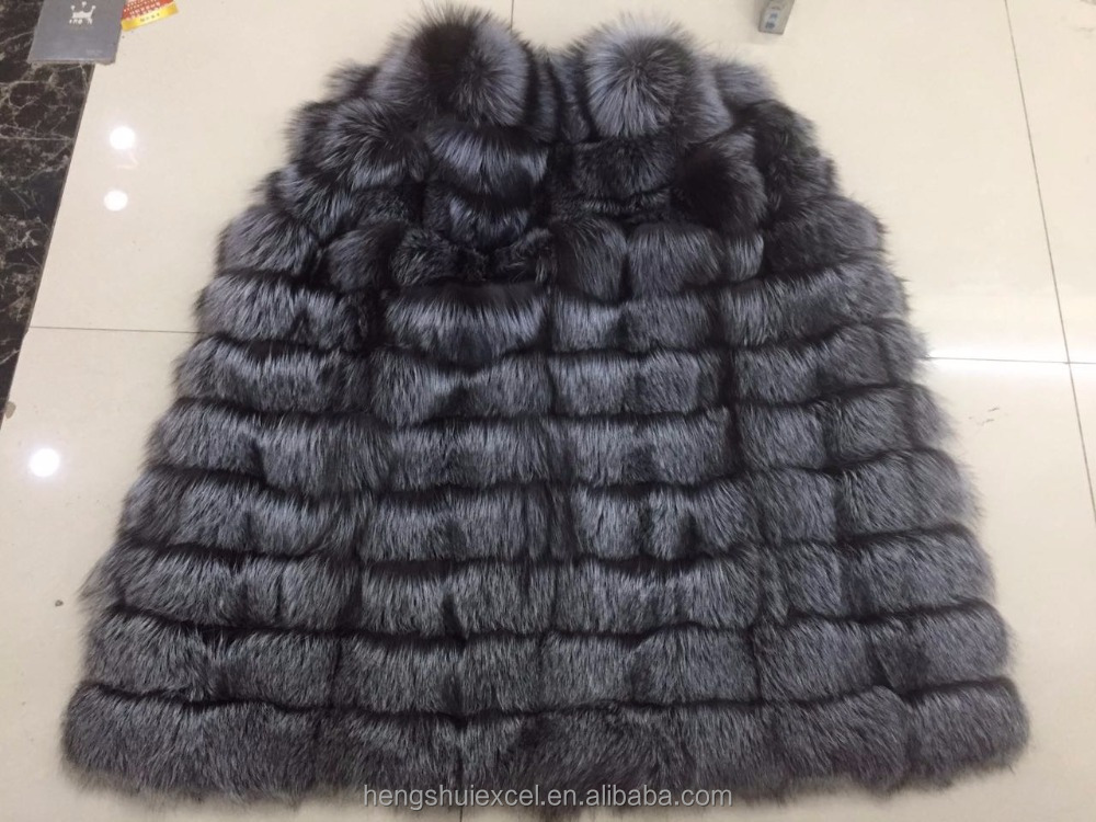 factory direct popular fashion new design real silver fox fur vest for women