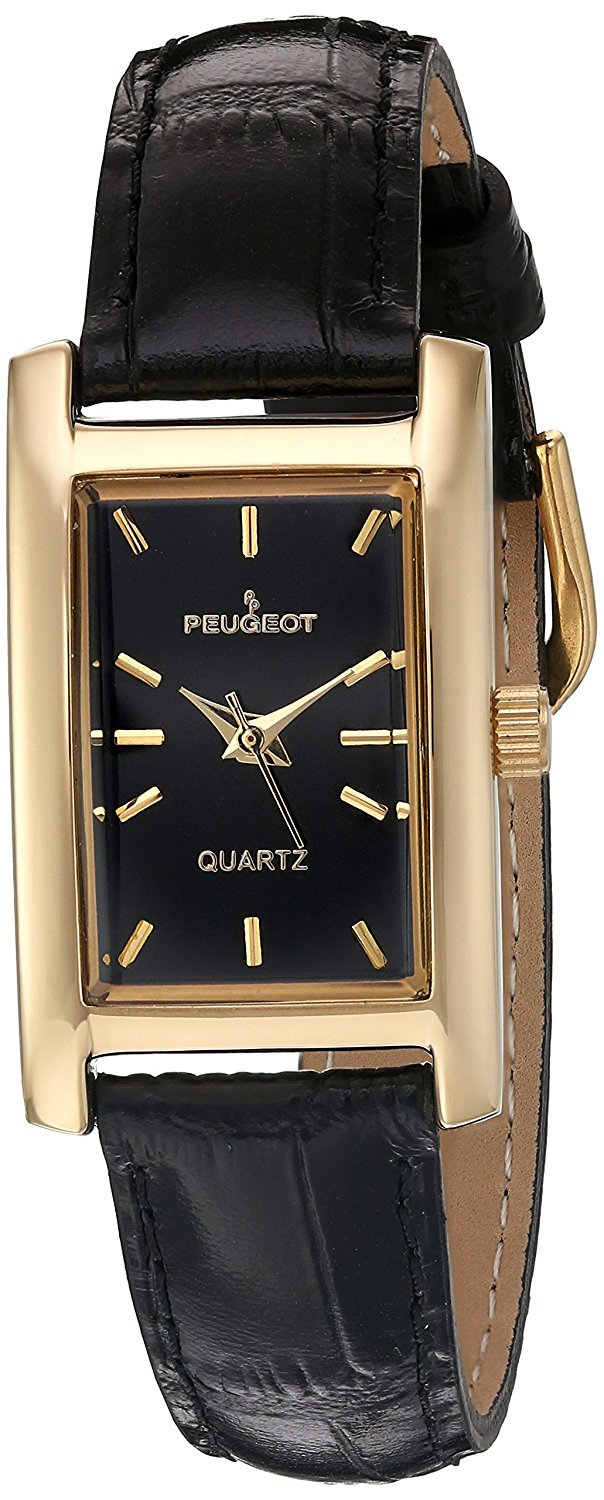 4dd265b047a43 Get Quotations · Peugeot Women s Classy 14K Gold Plated H Rectangle Case  Leather Band Dress Watch