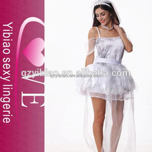 white beauty mesh covers sexy bride costume wedding dress costume