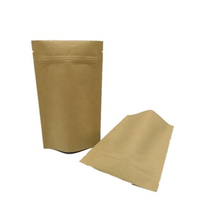 Factory brown kraft snack tea pouch stand up plastic ziplock Kraft paper food bag for grocery