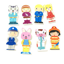 Cartoon Change Clothes Wooden Educational Toy Puzzles Montessori Educational Dress Changing Jigsaw Puzzle Toys For Kids