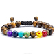 High quality 8mm Lava Rock 7 Chakras Beads Bracelet Braided Rope Natural Stone Yoga Bracelet Bangle (YB033)