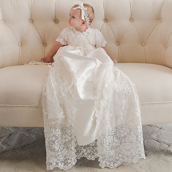 38e6db74ed9a Heirloom-style Back Button Silk Baptism Dress Three Quarter Formal Ruffled  Lace Embroidery Baby Boy