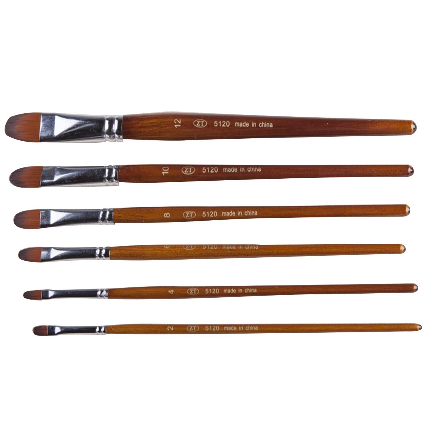 Kangkang@ 6 Pcs/Set Multi-functional Wooden Handle Nylon Hair Artist Watercolor Oil Painting Drawing Brush Pen Tips Set Art Supplier