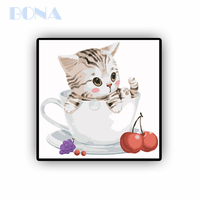 Bona Funny Cat Diy Drawing Oil Painting Numbers