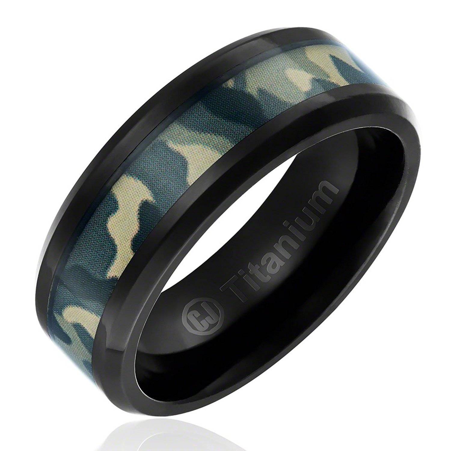 Sonia Jewels Titanium 9mm Black IP-Plated with Carbon Fiber Inlay Polished Wedding Band