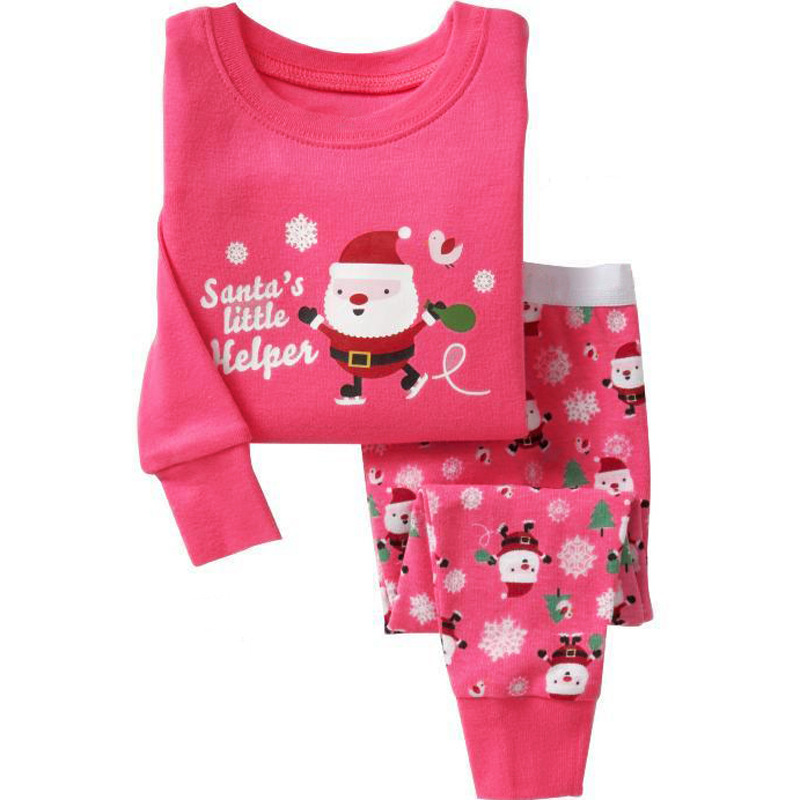 ecf978a0c714 Santa Claus Children Girls Clothing Set Xmas Casual Cotton Long ...