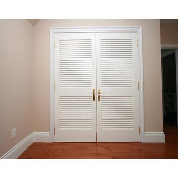 Residential Double Leaf Wood Door Louver Door For Sale