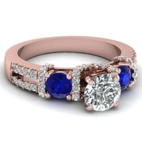 Wholesale gold plated ring, modern ring with blue and white diamond