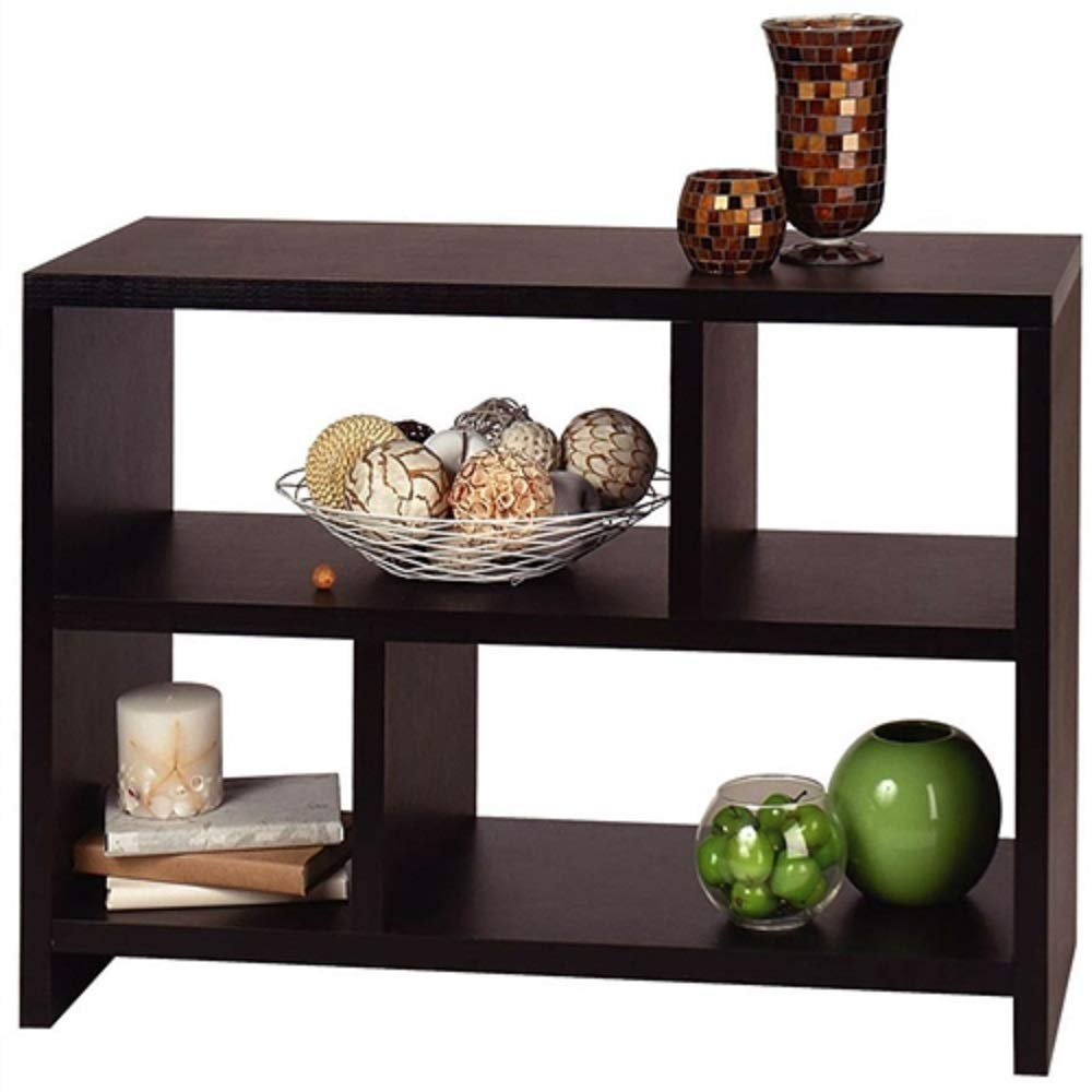 MyEasyShopping Modern 2-Shelf Bookcase Console Table in Espresso Black Wood Finish Storage Bookshelf Wood Shelves