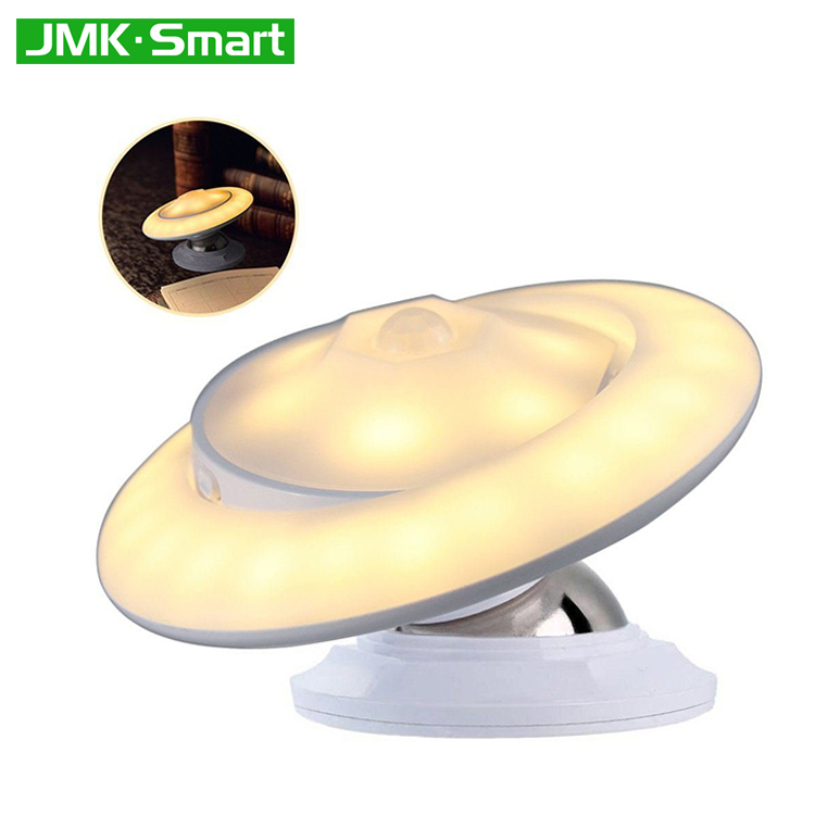 UFO shape 360 degree rotating motion sensor LED night light for indoors stairway bedroom baby room