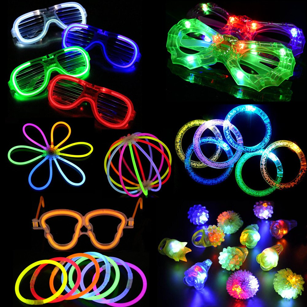 Acmee 74 pieces LED Light Up Party Favor Toy Set.LED Party Pack With LED Accessories - 12 LED Flashing Bumpy Rings,6 LED Bubble Bracelets,6 LED Glasses and 50 LED Glow Sticks