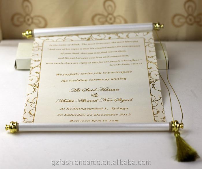 Customize Royal Bule Chinese Scroll Wedding Invitation Card Buy
