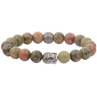 Natural Colorful Morganite Gemstone Clear Beads Bracelet - Stainless Steel Bangle Marble Rosary Bead Bracelet
