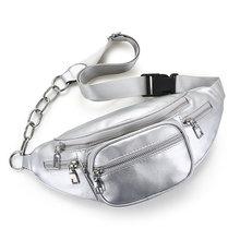 Мужская и Женская поясная сумка из искусственной кожи с цепочкой, черная однотонная поясная сумка для путешествий, многофункциональная сум...(Китай)
